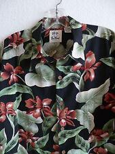Pau Hana Hawaiian Shirt Tropical Floral Black w/ Green Orange Cotton Blend  X L