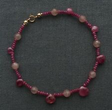 """SAPPHIRE & RUBY ANKLE CHAIN 9"""" PINK 14K GOLD FILLED"""