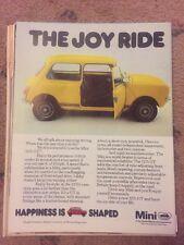 1978 Mini 1275 GT Austin Morris Print vintage magazine advert Automobilia