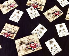 Joseph & Feiss Woody Woodie Wagon Car Mens Hawaiian Camp Shirt Vacation Silk 2XL