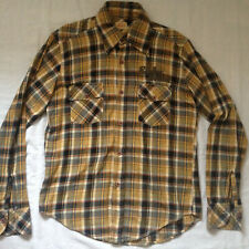 REPLAY JEANS MEN'S FLANNEL L/S BROWN PLAID SHIRT MEDIUM EMBROIDERED