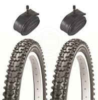 2 Bicycle Tyres Bike Tires - Mountain Bike - 24 x 1.95 - With Schrader Tubes