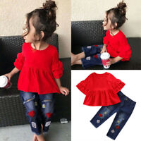 2PCS Toddler Kids Baby Girl Outfit Ruffle Tops Floral Long Denim Pants Jeans Set