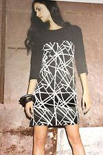 PIU&PIU NEU Gr.38 Kleid Schwarz-OffWhite Geometrisch