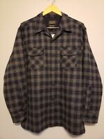 NWT Pendleton Men's Board Shirt plaid Grey Space Dye 100% virgin Wool size L