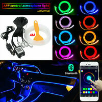 RGB LED Car Interior Decor Atmosphere Light Strip Wire Lamp Optic Fiber Kit APP