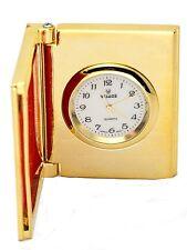 VISAGE:GOLD TONE BOOK/PICTURE FRAME STYLE  COLLECTABLE ANALOG QUARTZ MINI-CLOCK
