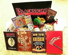 Vintage Magic Tricks Show Carry Case Books Many Cards Instructions Publications