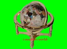 "Unique Art 13"" Tall Pearl Powder Ocean Table Top Gemstone World Globe gold stand"