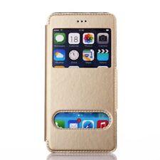 Etui Housse Coque Flip Case View Double Fenetre Or Gold Doré Iphone 5C