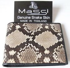 Genuine Real Anaconda Snake Skin Leather Man Bifold Natural Wallet