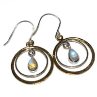 Two Tone - Moonstone - India 925 Sterling Silver Earring Jewelry AE52547 88Q