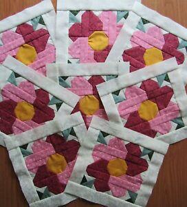 "8 Pieced Pink Maroon Heart Flower quilt block 8 1/2 x 8 1/2"""