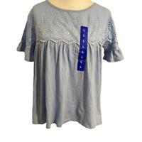 Jachs Girlfriend Top Large Light Blue Broderie Anglaise Short Sleeve Keyhole New