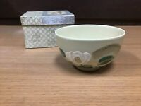 Y0732 CHAWAN Kyo-ware signed camellia Japanese Tea Ceremony bowl pottery Japan