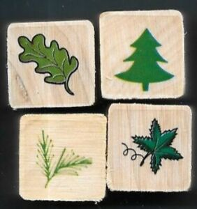 OAK LEAF PINE TREE FERN MAPLE LEAF Nature Leaves MINI LOT NEW wood RUBBER STAMPS