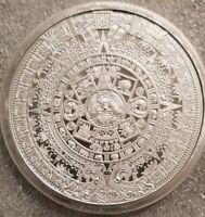 5 oz .999 Silver Aztec Calendar Stone, Eagle Warrior Emperor of Tenochtitlan NEW