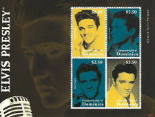 Elvis Presley $2.50 Dominica Souvenir Stamp Sheet 4 Stamps 2009 Commonwealth of