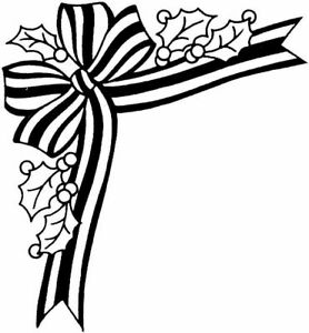 Christmas - Corner Holly & Ribbon Unmounted Clear Stamp Approx 56x60mm