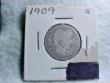 1909 Silver Barber Quarter