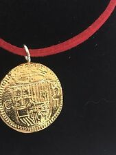 "Gold Doubloon Coin WC36 Gold Fine English Pewter On a 18"" Red Cord Necklace"