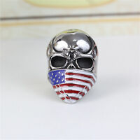 Men's 316L Stainless Steel Vogue Design USA Flag pattern Skull Ring Size 10