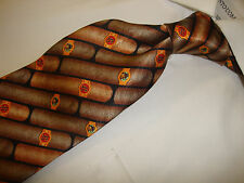 "Exquisite Men's 100% silk ""The good life"" by Russ fine cigar print neck tie."
