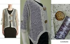 NWT NINA LEONARD Sz. M Natural Crochet Coconut Buttons peasant top shrug