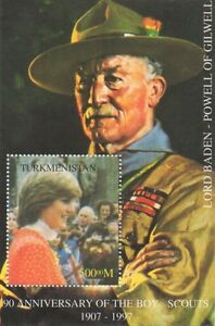 90th ANNIVERSARY OF BOY SCOUTS BADEN-POWELL PRINCESS DIANA MNH STAMP SHEETLET