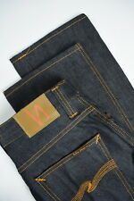 NUDIE SLIM JIM ORG. DRY BROKEN TWILL Men W32/L34 Dark Blue Straight Jeans 4087_