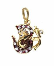 Gold Red Diamante Aum Ganesh Shiva Rudraksha Pendant/Amulet/Locket High Quality