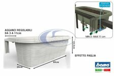 Vaso Fioriera  Rondine Plastica Rettangolare da Balcone Regolabile Panna 60 cm