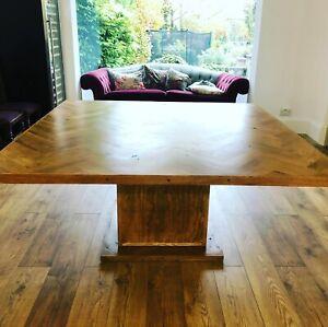 Large Parquet Dining Table - Square, Herringbone Design, Bespoke Measurements.