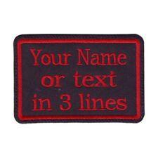 Rectangular 3 Line Custom Embroidered Biker SEW ON  Name Tag PATCH (BRBR)