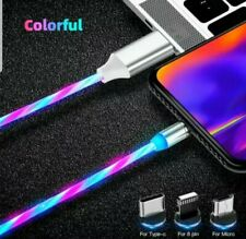 LED 3 in1 glow flowing magnetic charger USB micro pin8/typeC for iPhone/android
