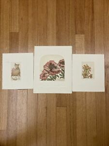 Lot of 3 Limited Edition Colored Etchings by R.H. Rachael Badeau ~ Floral & Cat
