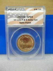 2007-P Washington Golden Dollar Anacs SP69  Satin Finish **A Near Perfect Coin**