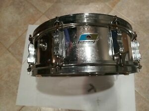 """Vintage Ludwig snare drum """"Blue/olive Badge"""" Chrome 14 X 5ish With Key"""