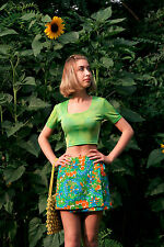 Oberteil Top 36 neongrün True Vintage 90s woman shirt Sommer bauchfrei stretch