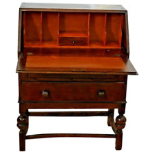 Antique Arts and Crafts Mission Style Tiger Oak Drop Front Desk Secretary