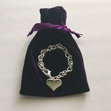 New 925 Sterling Silver Heart Charm Bracelet Link Chain FAST FREE SHIPPING