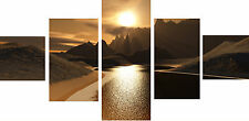Large 5 Piece Set Cascading Brown Lake Canvas Pictures Quality Artwork Prints