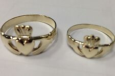 Pair Set of 14k Gold Irish Handcrafted Irish Claddagh Rings anniversary wedding