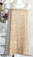 Noa Noa Kleid Dress S 36 Shark Sequin Gold Pailletten beige creme