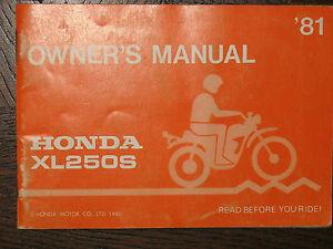 81 HONDA XL250S XL250 S XL 250S 250 ORIGINAL NOS OEM OWNER'S DRIVER'S MANUAL