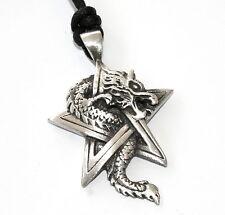 DRAGON PENTAGRAM STAR Silver PEWTER Necklace PENDANT