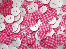 50 x PINK GINGHAM 2 HOLE RESIN 13mm SEWING BUTTONS, SCRAPBOOKING, CRAFT ETC.,