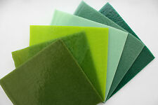 Bullseye Glass Kiln Fusing Pack - Green Opals 6 sheets of 12x12cm
