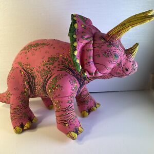 """Vintage Pink Dinosaur Plush Triceratops 16"""" Long 1992 Determined Products Cloth"""