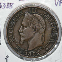 France 1863 BB 5 Centimes key date 290085 combine shipping